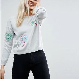 ASOS Embroidered Flamingo Sweater EUC